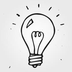 Vector light bulb hand drawn, doodle
