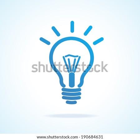 vector light bulb icon blue....