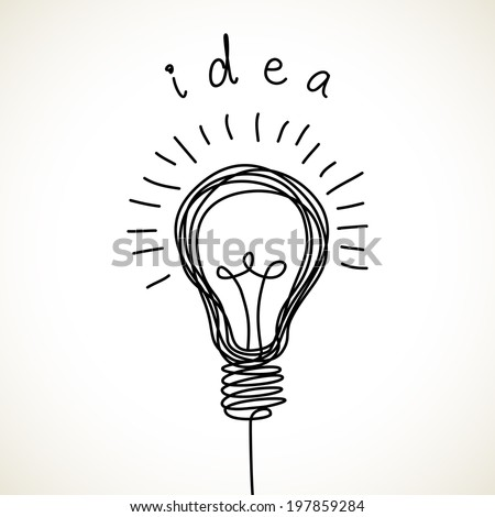 Vector light bulb icon with concept of idea. Doodle hand drawn sign. Illustration for print, web