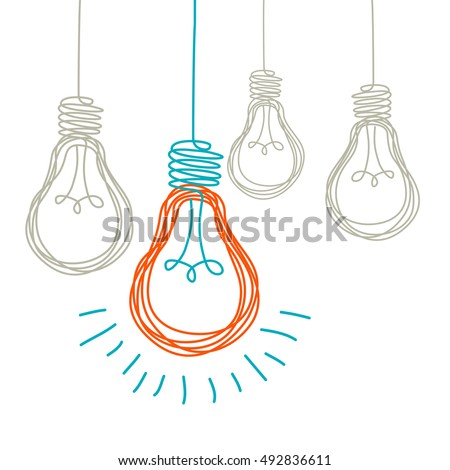 Vector light bulb icons with concept of idea. Color original sign of co-creativity. Doodle hand drawn sign. Illustration for print, web