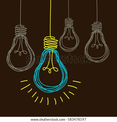 Vector light bulb icons with concept of idea. Original scribble sign of co-creativity. Doodle hand drawn design template. Color original illustration for print, web
