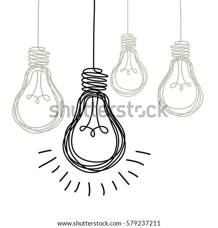 Vector light bulb icons with concept of idea. Original sign of co-creativity. Doodle hand drawn sign. Black and white original illustration for print, web