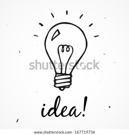 Vector light bulb. Idea! hand drawn