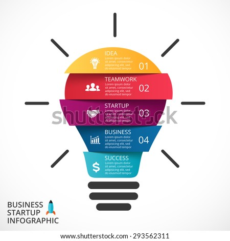 Vector light bulb infographic. Template for circle diagram, graph, presentation and round chart. Business startup idea lamp concept with 4, 5 options, parts, steps, processes. Successful brainstorming