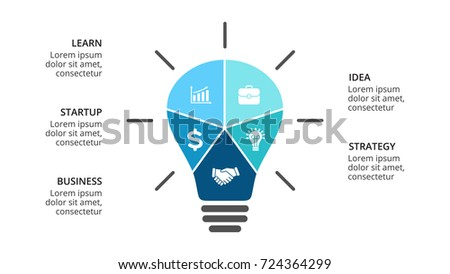 Vector light bulb infographic. Template for diagram, graph, presentation and layers chart. Business infographics startup idea lamp concept 5 options, parts, steps, processes. Successful brainstorming