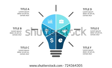 Vector light bulb infographic. Template for diagram, graph, presentation and layers chart. Business infographics startup idea lamp concept 6 options, parts, steps, processes. Successful brainstorming