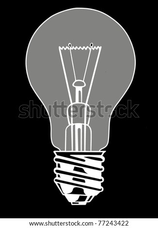 vector light bulb on black background