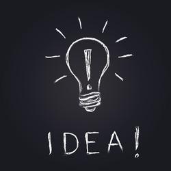 vector light bulb on blackboard, an idea concept