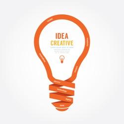 vector light bulb ribbon paper design creative line style.