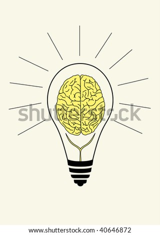 Vector light bulb with brain inside, symbol of brain storm and good ideas