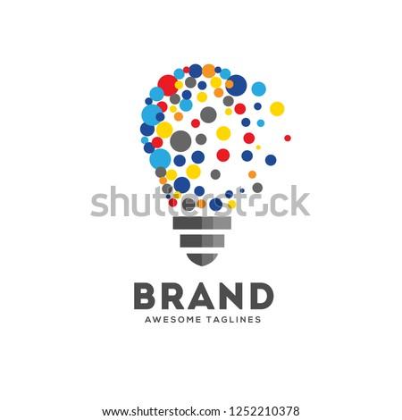 Vector light bulbs with particle dots logo concept. innovation idea technology logo vector