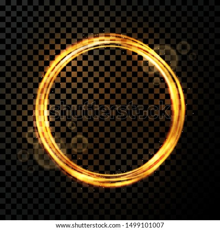 Vector light effect on transparent background. Golden transparent light with dynamic swirl in round shape. Glowing light ring or motion swirl with flying sparkling flash and particles