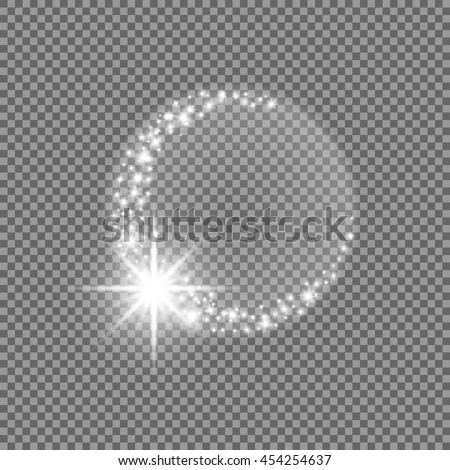 Vector light effect, star soffit, projector rays with shining moon halo. Decorative glitter sparkles. Brilliant glowing silver design element. Halfmoon muslim faith symbol. Foto stock ©