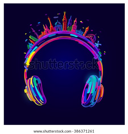 Vector Light Headphones, colorful headphones, easy all editable