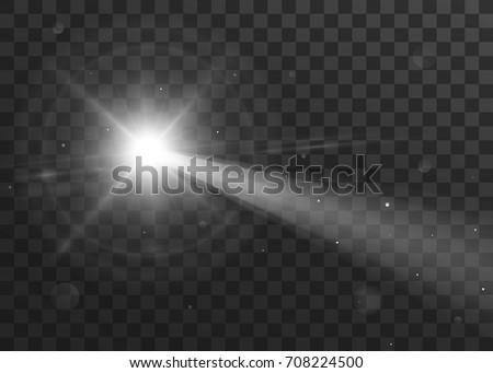 Vector light sources, flashlight. Isolated on black transparent background. Vector illustration, eps 10.