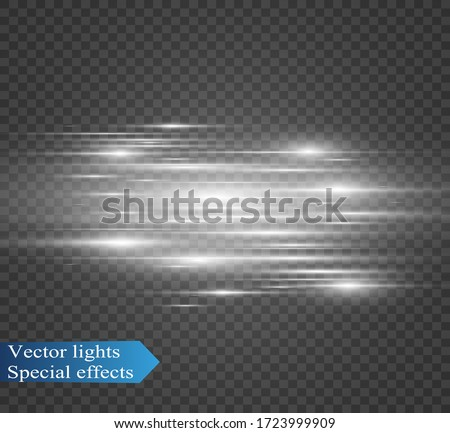 Vector light special effect. Luminous stripes on a transparent background.