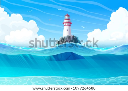 vector Lighthouse, light house, beacon, rock, wave, seagulls. Sea ocean seascape, landscape. Underwater, undersea panorama view. ?loudy day background. Nautical, maritime, marine, naval illustration 2