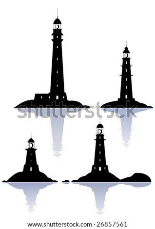 Vector Lighthouses - four illustrations isolated on white