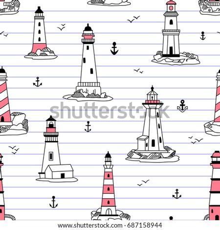 vector lighthouses seamless...