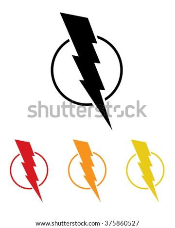 Vector Lightning Bolt Set in Black and Color
