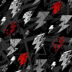 Vector lightning bolts signs Seamless Pattern. Repeating Background with hand drawn doodle. Urban style modern  wallpaper  for boys