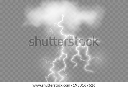 Vector lightning, lightning png, thunderstorm, lighting. Lightning strikes from the cloud. Natural phenomenon, light effect. PNG.