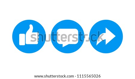 Vector like comment share icon set. Foto stock ©