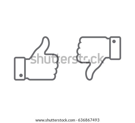 Vector. Like / Dislike, unlike. Thumbs up / Thumbs down. Icon set. Thumbs-up / Thumbs-down. Outlined.