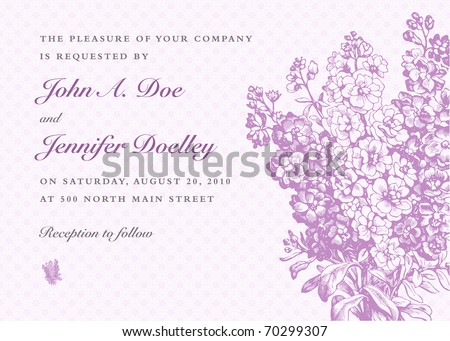 Vector lilac frame and background. Easy to edit. Perfect for invitations or announcements.