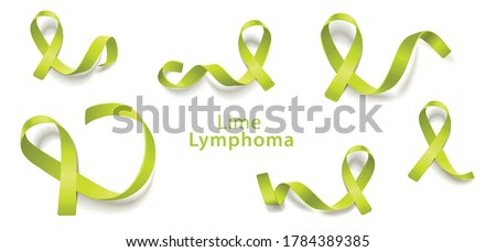 Vector lime green ribbon lymphoma immune cancer awareness symbol set. International health care campaign concept. Lymphoma prevention support and hope. Uncurable immune disease treatment design. Stock photo ©
