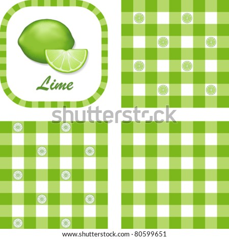 vector - Limes & Gingham Seamless Patterns in 3 designs. EPS8 file has 3 check pattern swatches (tiles) that will seamlessly fill any shape.