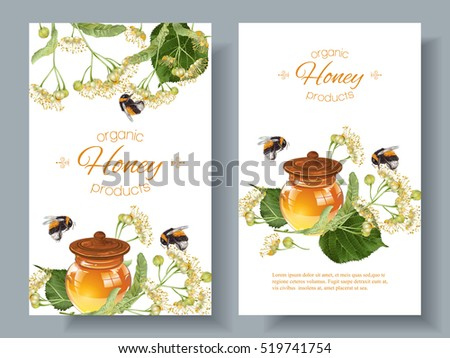 Vector linden honey banners with bumblebees. Design for herbal tea, natural cosmetics, honey, health care products, homeopathy, aromatherapy. With place for text