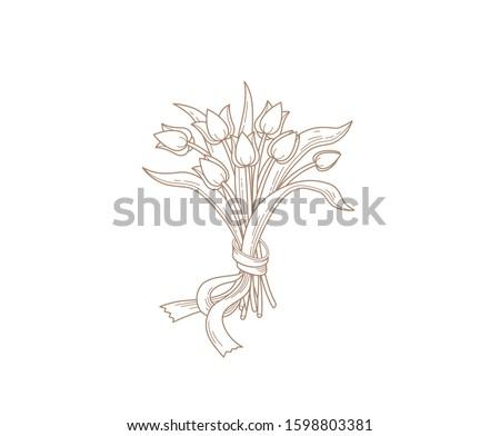 vector line art bouquet of