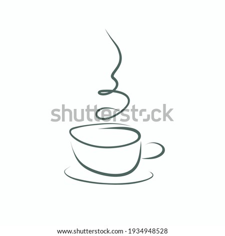 Vector line art cup with smoke clip art isolated on white background. Hot drink mug sketch illustration for cafe, restaurant, menu, recipe.