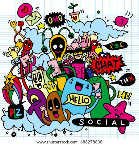 Vector line art Doodle monster set of objects and symbols on the Social Media theme