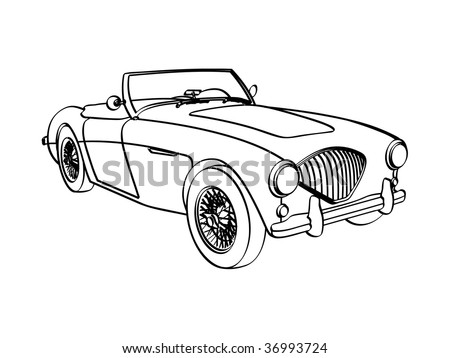 Vector line art drawing of early 60's Austin Healy 3000 sports car