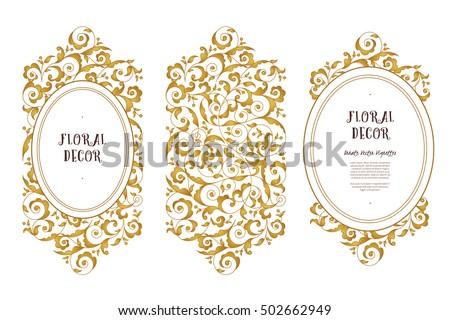 Vector Line Art Frame For Design Template Vintage Element In Eastern Style Golden Outline