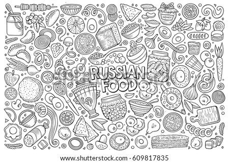 Vector line art hand drawn doodle cartoon set of Russian food theme items, objects and symbols
