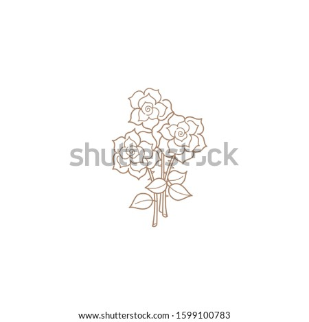 vector line art icon bouquet of