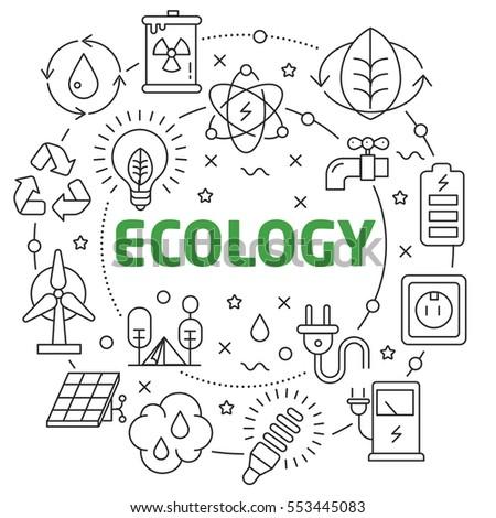 Vector Line Art Illustration in Flat styles ecology