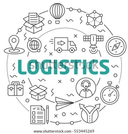 Vector Line Art Illustration in Flat styles logistics