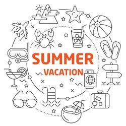 Vector Line Art Illustration in Flat styles summer vacation
