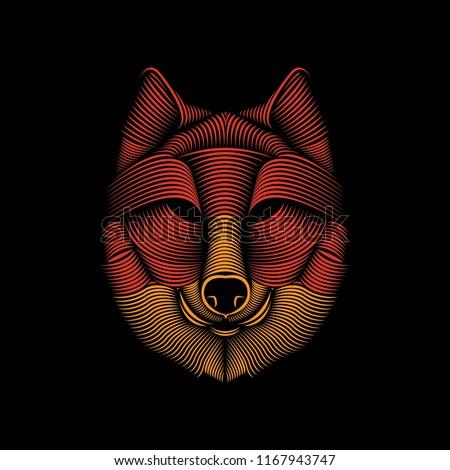 Vector line art illustration of a wolf head. Editable element design for t-shirt, poster, etc.
