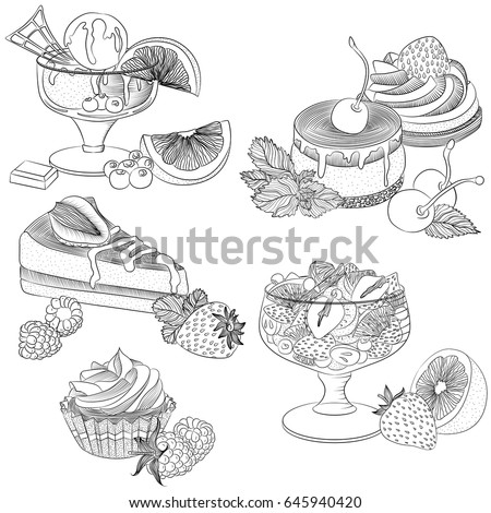 Vector line art illustration with food. Set with various fruit desserts. Illustration for menu, cookbook or coloring book. Sketch isolated on white background