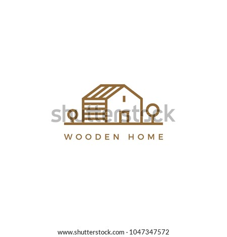 Vector line art logotype of wooden house. Abstract logo design for construction company or interior design studio.