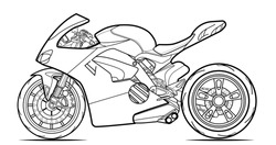 Vector line art motorcycle for concept design. Sport bike black contour outline sketch illustration isolated on white background. Stroke without fill. Cower drawing. Black-white icon.