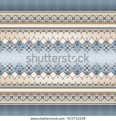 Vector line art seamless border for design template. Element for design. Ornamental backdrop. Pattern fill. Ornate floral decor for wallpaper. Traditional decor. #453752638