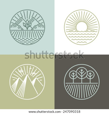 Vector line badges with landscapes and nature icons - round labels
