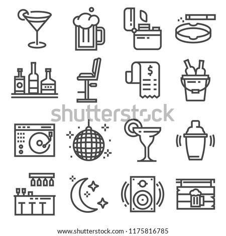 Vector line bar and pub icons set. Cigarette, lighter, beer, cocktail, shaker, ball disco and more