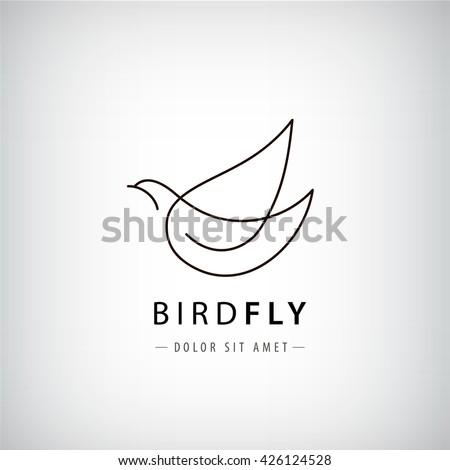 vector line bird logo  pigeon